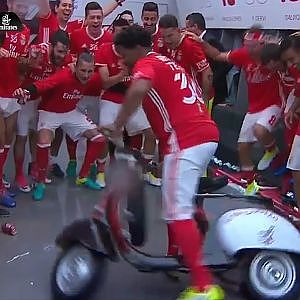 Benfica player takes moped for a spin in changing room after title win – video - YouTube