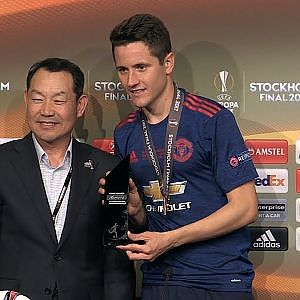Ander Herrera Press Conference - Collects Man Of The Match Award - Man United Win The Europa League - YouTube
